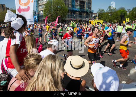 London, UK. 22nd April, 2018. Competitors take part in the Virgin Money London Marathon in record temperatures. - Stock Photo