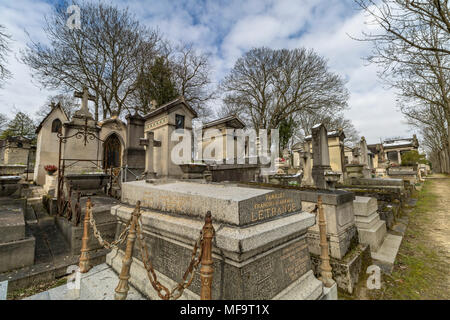 Tombstones and mausoleums at  Père Lachaise cemetery, the largest and most visited cemetery  in Paris - Stock Photo