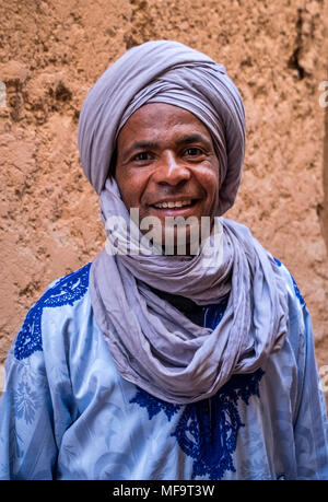 Portrait of a Berber Man in traditional dress, Tinerhir, Todgha Gorge, High Atlas, Morocco - Stock Photo