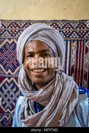 Portrait of a Berber Man in traditional dress, Tinghir, High Atlas, Morocco - Stock Photo