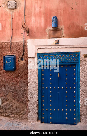 Typical Entrance Door to a Riad in the Backstreets of Marrakech, Morocco - Stock Photo