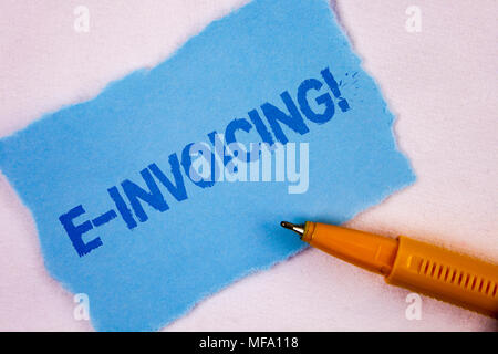 Text sign showing E-Invoicing Motivational Call. Conceptual photo Company encourages use of digital billing written Tear Blue Sticky note paper plain  - Stock Photo
