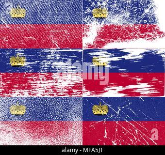 Flag of Liechtenstein with old texture. Vector illustration - Stock Photo