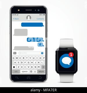 Chatting and messaging concept. Smartphone with messaging sms chat on screen and smart watch with sms app. Vector illustration. - Stock Photo