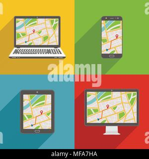 Flat design long shadow styled modern vector icon set of gadgets and devices with GPS map - Stock Photo