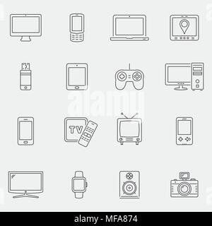 Set of thin line devices icons for mobile apps and web design. Vector illustration. - Stock Photo