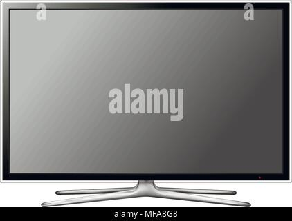 Modern blank flat screen TV isolated on white background. Vector eps10 illustration. - Stock Photo