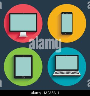 Flat design long shadow styled modern vector icon set of gadgets and devices - Stock Photo