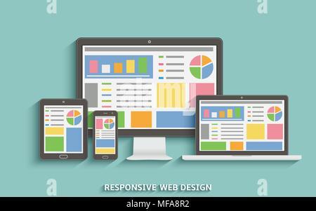 Responsive web design. Web design technology devices. Laptop, desktop computer, tablet and mobile phone. Vector EPS10. - Stock Photo