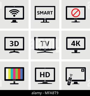Various modern tv and computer monitor icons set. Vector illustration. - Stock Photo