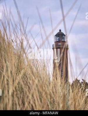 Sharp lighthouse on the peninsula Fischland-Darß-Zingst. - Stock Photo