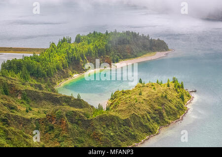 Sete Cidades lake view on Azores Islands in Portugal. - Stock Photo