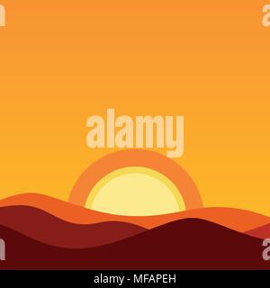 Cartoon Desert Landscape at Sunset. Vector Background illustration in orange colors of evening sun and horizon. - Stock Photo