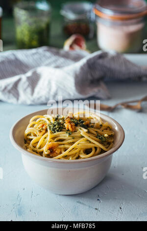 Bowl of Pasta with Pesto - Stock Photo