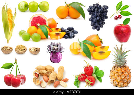 Collection fruits and vegetables for project isolated on white background. - Stock Photo