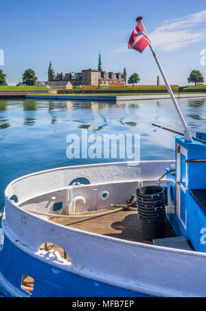 view of Kronborg Castle from Culture Harbour Kronborg, Port of Helsingor, Zealand, Denmark - Stock Photo