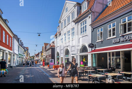 Stengade, popular pedestrian shopping and restaurant street in the old town centre of Helsingør, Zealand, Denmark - Stock Photo