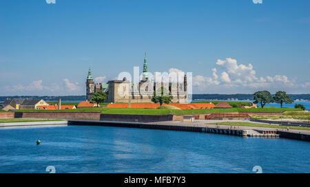 Kronborg Castle seen from the Port of Helsingor, Zealand, Denmark - Stock Photo