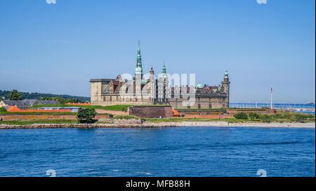view of Kronborg Castle from the Øre Sound, Helsingør, Zealand, Denmark - Stock Photo