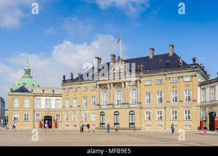 King Christian VIII palace, Amalienborg, Denish royal family residence in Copenhagen, Denmark - Stock Photo