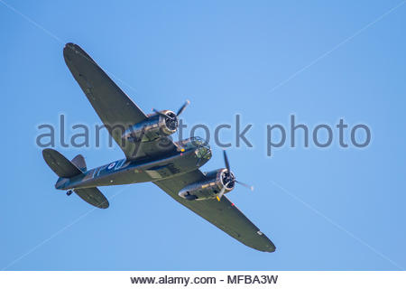 A Bristol Blenheim MkIF performing a fly past at Duxford Battle of Britain 75th anniversary air show on 20 September 2015 in bright sunshine - Stock Photo