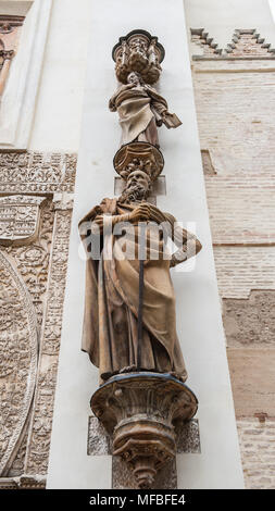 Statue on the Seville Cathedral, Roman Catholic cathedral in Seville,Spain. - Stock Photo