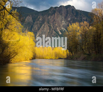 Spring on the North Fork Snoqualmie River, Mount Si, Washington State - Stock Photo