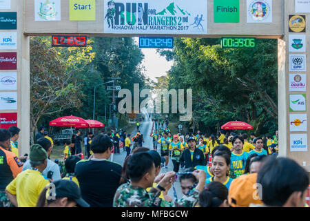 Nakhon Ratchasima, Thailand - December 24, 2017: Department of National Park organise Half Marathon to seek fund to support rangers at Khao Yai Nation - Stock Photo