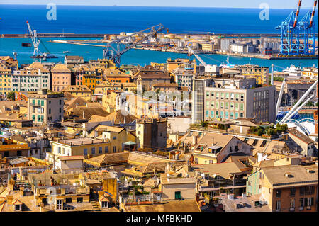 Architecture of the Old Port area of Genoa. Genoa is the capital of Liguria and the sixth largest city in Italy - Stock Photo