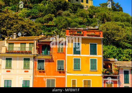 Close view of the colorful houses in Portofino, an Italian fishing village, Genoa province, Italy. A vacation resort with a picturesque harbour and wi - Stock Photo