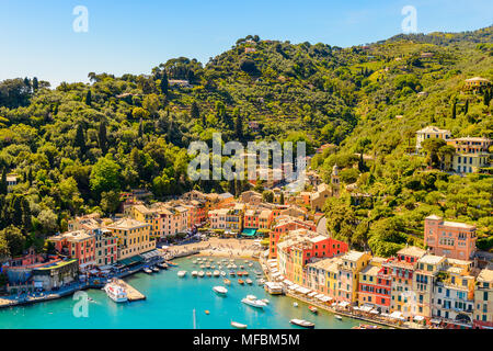 Aerial view of Portofino, is an Italian fishing village, Genoa province, Italy. A vacation resort with a picturesque harbour and with celebrity and ar - Stock Photo
