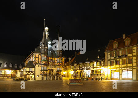 Wernigerode, Germany - April 24, 2018: View of the historic town hall of the popular tourist town of Wernigerode in the Harz Mountains, Germany. The t - Stock Photo