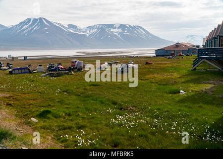 the  town  Longyearbyen on Spitsbergen, Svalbard Archipelago, Norway - Stock Photo