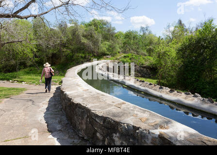 The Espada Aqueduct, an 18th century aqueduct in the San Antonio Missions National Historical Park, San Antonio, Texas USA - Stock Photo