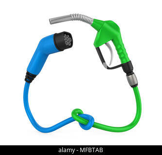 Electric Vehicle Charging Plug and Gas Nozzle Isolated - Stock Photo