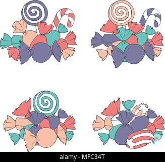 Hand drawn vector set of marshmallows and wrapped candies piles isolated on the white background. Decoration with sweets in bright colors. - Stock Photo