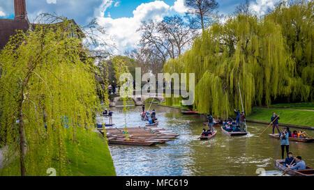 Cambridge, United Kingdom - 17 April, 2016 : People punting on river Cam, enjoying a wonderful weekend - Stock Photo