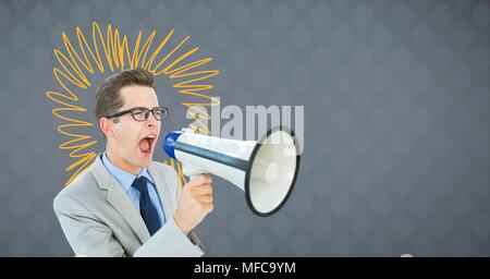 Man shouting in loudspeaker with yellow doodles on grey background - Stock Photo