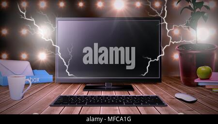 Lightning strikes and computer - Stock Photo