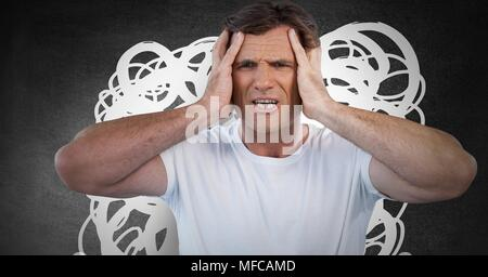 Anxious stressed headache man with white doodles on dark background - Stock Photo