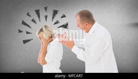 Couple arguing and fighting with triangle doodles on grey background - Stock Photo
