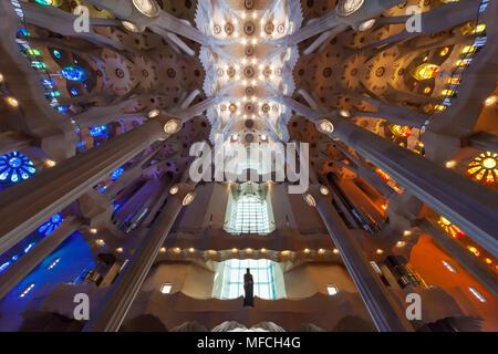 The Basílica i Temple Expiatori de la Sagrada Família is a large unfinished Roman Catholic church in Barcelona. - Stock Photo