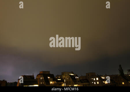 Thunderstorm lights. Bright lightning thunderstorms sparkle from the cloud. Dangerous electrical flash. Levin or scintillation for weather concept. St - Stock Photo