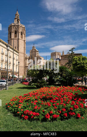 The landmark Miguelete Bell Tower, part of Valencia Cathedral, Plaza de la Reina, Valencia, Spain - Stock Photo