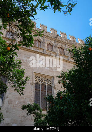 La Lonja, former silk and commodities exchange building with a gothic style, and now a World Heritage Site, North Ciutat Vella, Valencia, Spain. - Stock Photo