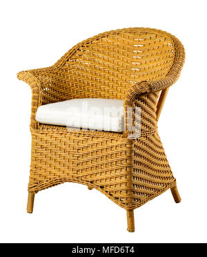 Wicker chair isolated on white background. Clipping path. - Stock Photo
