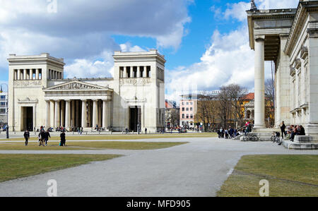 The Propylaea and the Glypothek, two superb Neo classical buildings addressing each other across the Konigsplatz, in Munich, Germany - Stock Photo