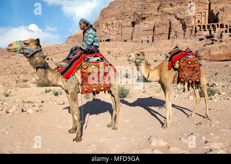 A camel driver riding a camel against the background of the ancient ruins of the city of Petra, Jordan - Stock Photo