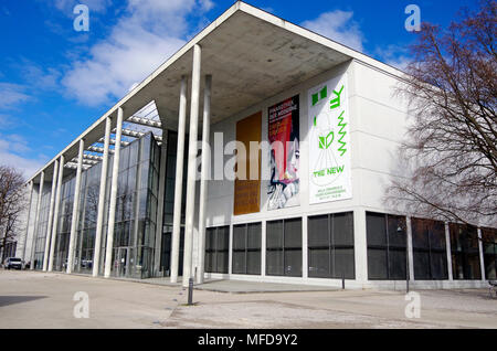The Pinakothek der Moderne Munich, a modern a modern art museum,  in Munich's Kunstareal, museum quarter - Stock Photo
