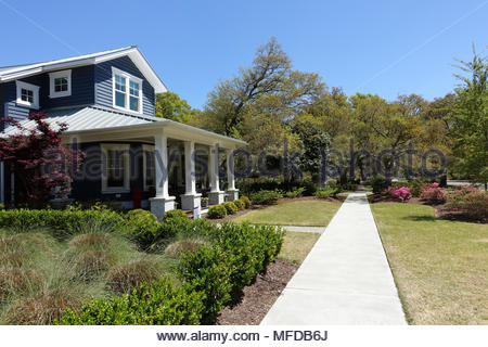 Neighborhood Sidewalk in Southport, North Carolina - Stock Photo